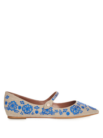 embroidered flats shoes