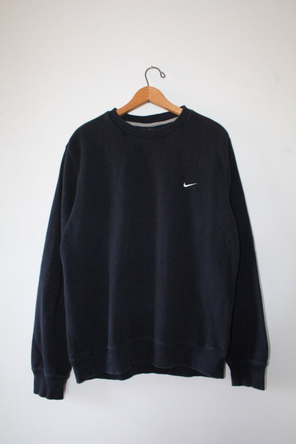 Sweater: nike, black sweater, oversized sweater, tumblr sweater ...