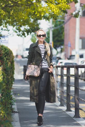 my blonde gal blogger sunglasses bag striped shirt snake print green long coat