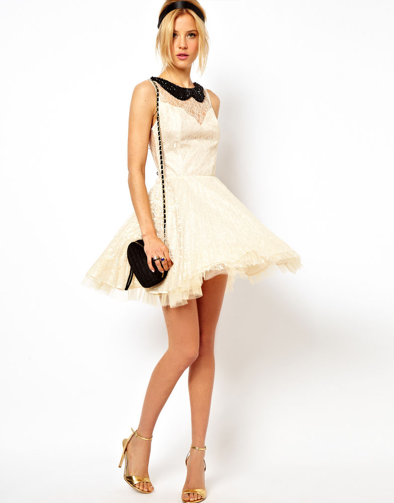 ASOS Mini Lace Skater Prom Party Dress with Pleated Skirt Cream UK ... e30c9b8dd