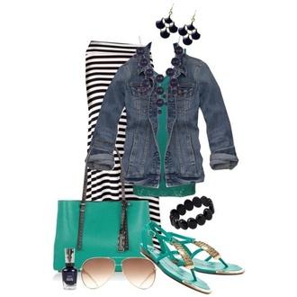 dress black and white denim jacket aqua sandals maxi skirt tank top sunglasses nail polish earrings bracelets asymmetrical striped skirt casual polyvore