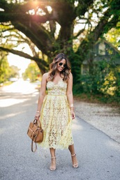 hauteofftherack,blogger,dress,bag,shoes,sunglasses,jewels,brown bag,handbag,yellow dress,lace dress,midi dress,summer dress,high heel sandals,sandals