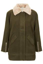 coat,ingid fur collar coat by jovonna,khaki,topshop,collar coat