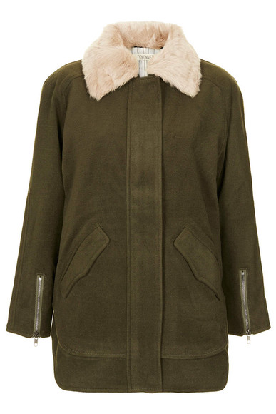 khaki coat ingid fur collar coat by jovonna topshop collar coat