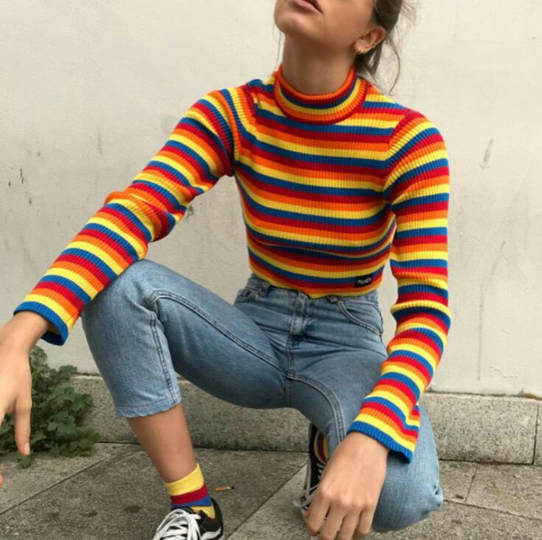shirt rainbow turtleneck long sleeves crop cropped sweater vintage pullover vintage cute 90s style 80s style
