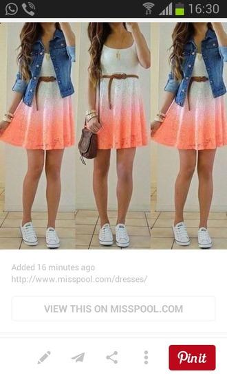 dress ombre dress white dress orange dress lace dress mini dress summer dress bag