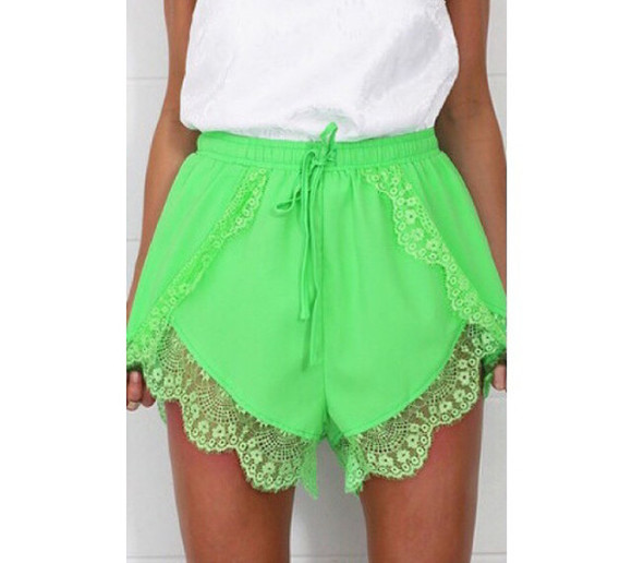 lace shorts green limegreen green shorts high wasted shorts white t white top