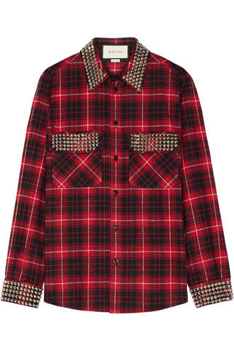 shirt flannel shirt plaid embellished cotton flannel red top