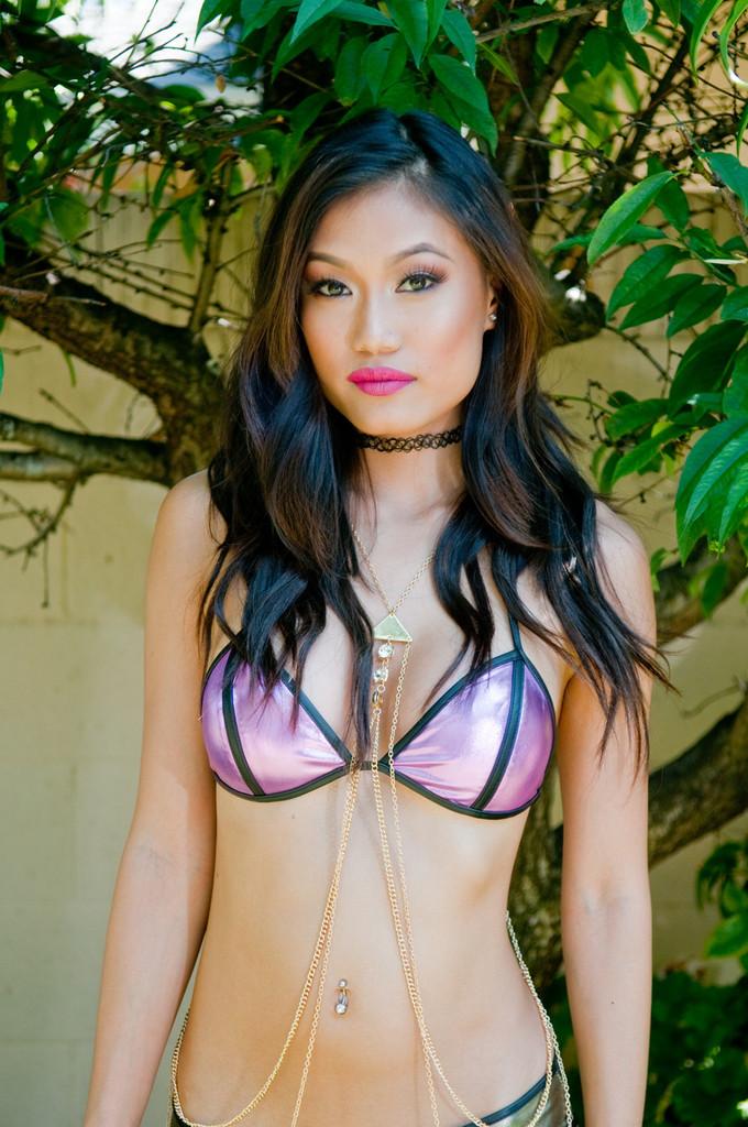 Disco berry bikini top – gold soul