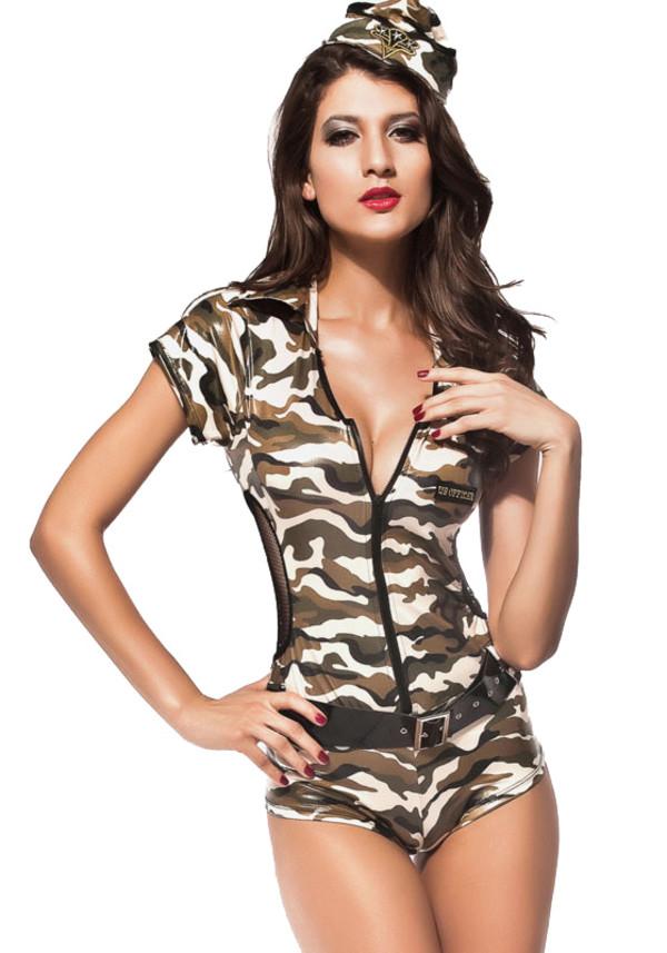 jumpsuit army costumes sexy costume women costume halloween costume