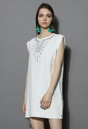 dress,sunrise boho shift dress in off-white,chicwish,denim dress,shift dress,off-white dress,chicwish.com