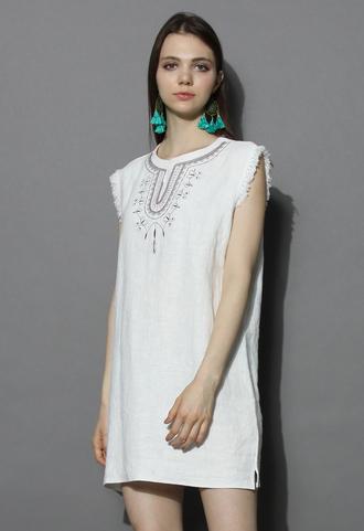 dress sunrise boho shift dress in off-white chicwish denim dress shift dress off-white dress chicwish.com