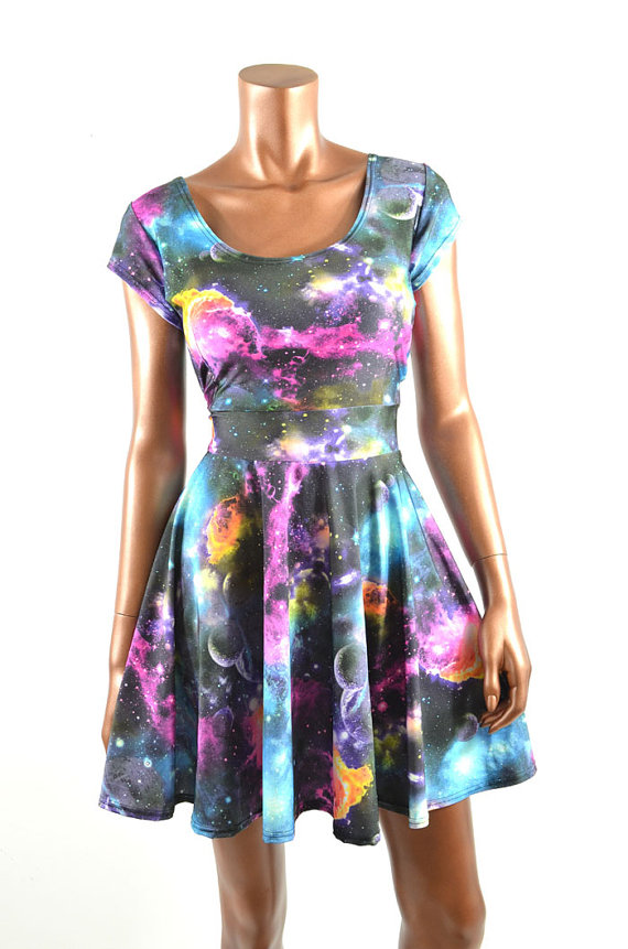 Uv glow galaxy print cap sleeve fit and flare skater skate dress rave festival clubwear