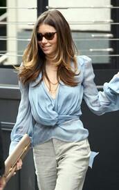 christian lacroix,jessica biel,blouse,business casual