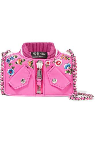 embroidered bag shoulder bag leather pink