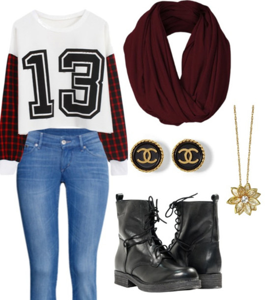 t-shirt scarf fall outfits jewels jeans