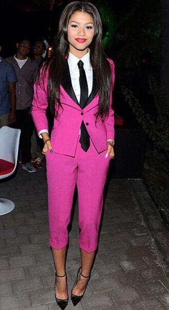 jacket zendaya pink trouser suit tall black black and pink blazer