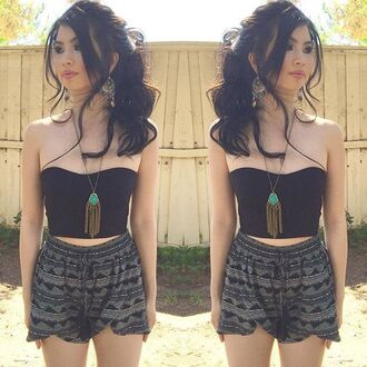 shorts black bustier bustier crop top crop tops tribal pattern tribal shorts top