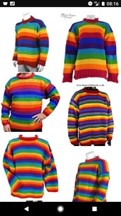 sweater,sweatshirt,stripes,winter outfits,wool,rainbow,multicolor,pullover