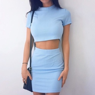 dress light blue baby blue skirt top crop tops bodycon skirt bodycon short sleeve 2 piece dress set tube skirt two-piece blue bottom shirt formal smart casual business casual set two piece dress set