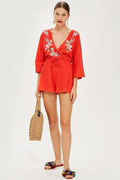 embroidered,red,romper