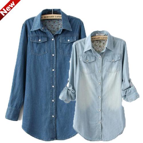 Hot Women Lady Girl Retro Vintage Long Sleeve Blue Jean Denim Shirt Tops Blouse | eBay