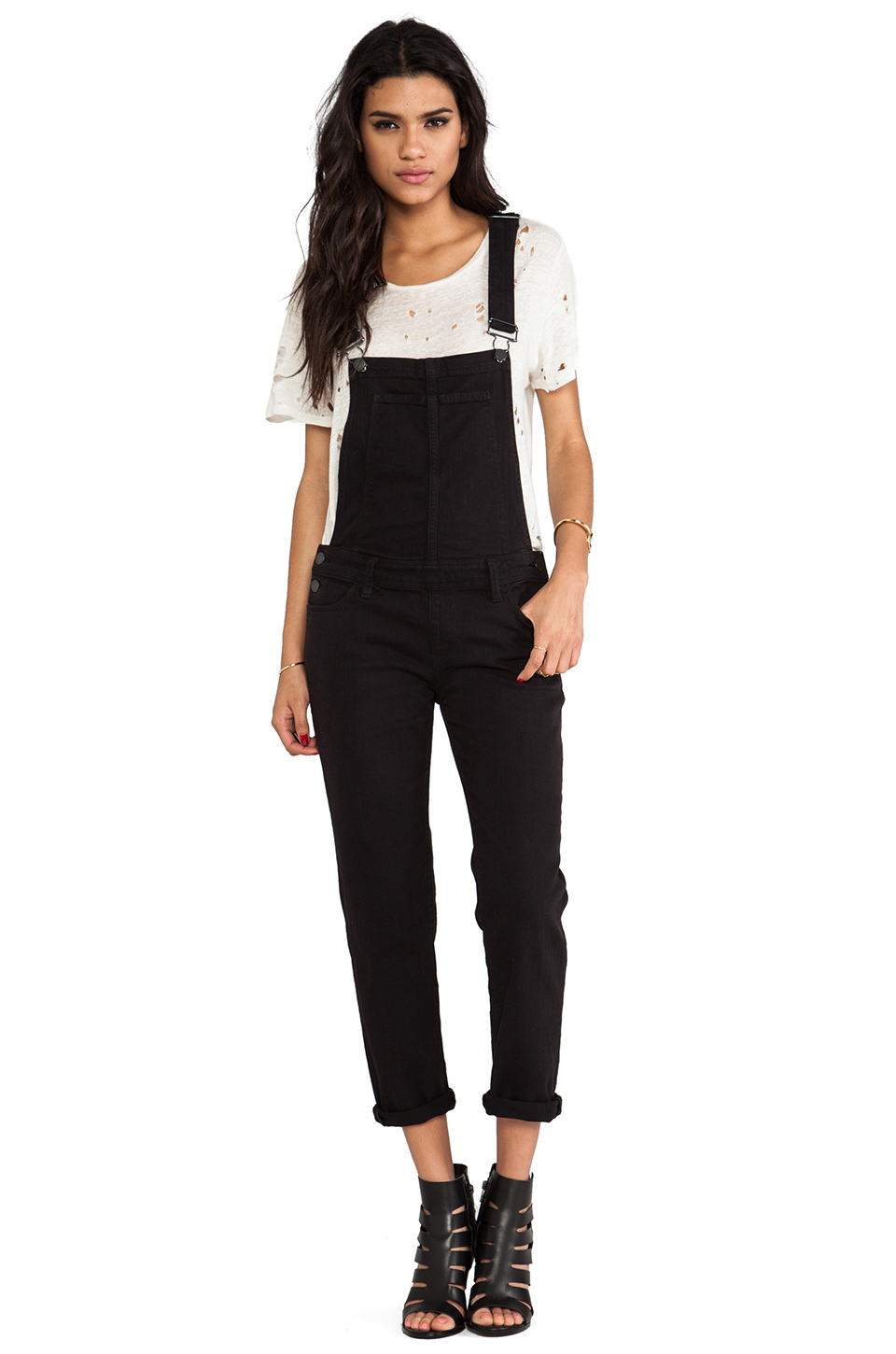 Paige Denim Sierra Overall in Vintage Black from REVOLVEclothing.com
