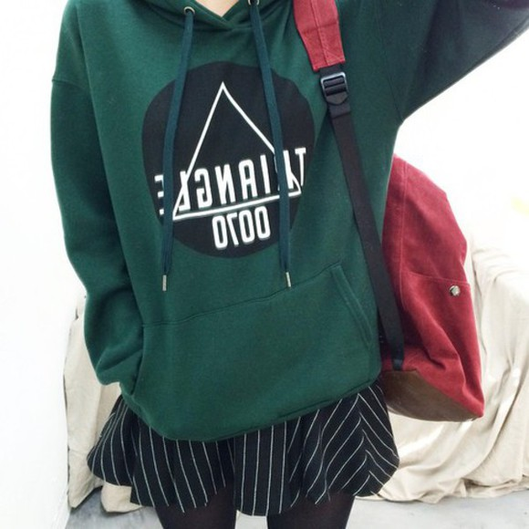 black triangle green sweater cool cozy sweater 007 winter sweater hoodie forest green