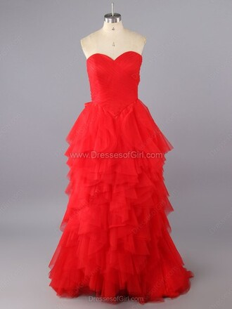 dress a-line sweetheart sweep train cascading ruffle prom dress