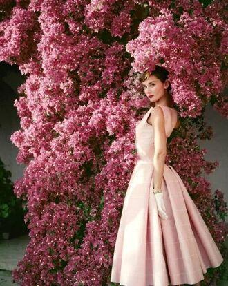 dress audrey hepburn actress midi dress a line dress classy dress pink dress flowers retro dress