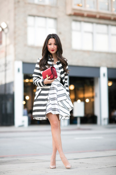 wendy's lookbook blogger dress stripes striped dress red bag coat jacket shoes bag jewels striped jacket striped coat