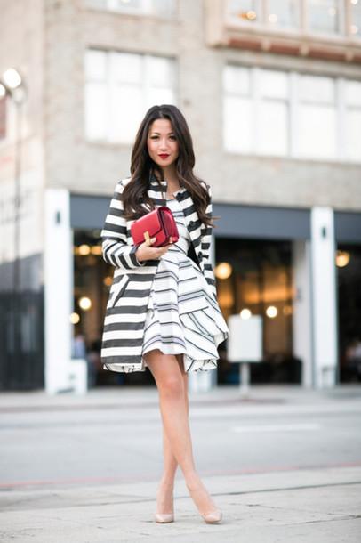 wendy's lookbook blogger dress stripes striped dress red bag coat jacket shoes bag jewels striped jacket striped coat