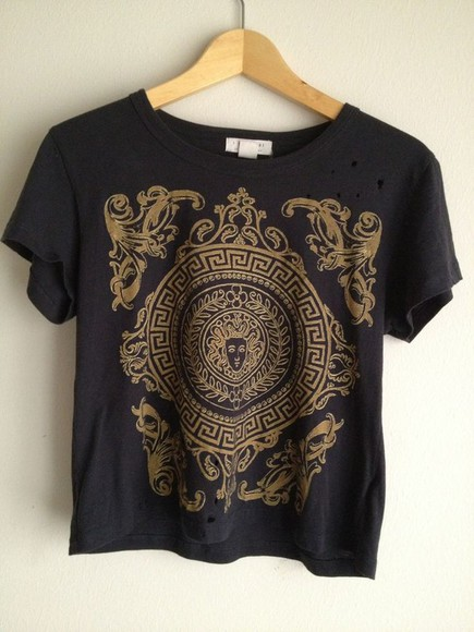 shirt top tshirt cropped black greek designs gold