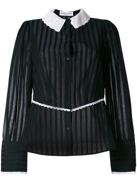 Sonia Rykiel - contrast collar striped blouse - women - Cotton - 42, Black, Cotton