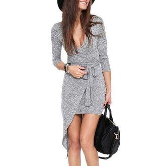 dress grey grey sweater grey dress kylie jenner dress deep v neck dresses long sleeve dress wrap dress casual dress sexy sexy dress asymmetrical dress fall outfits