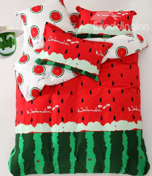 New Arrival High Quality Cartoon Watermelon Red 4 Piece Bedding Sets - beddinginn.com