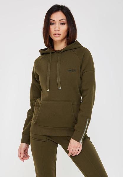 MDV Essential Zip Sleeve Hoodie - Khaki