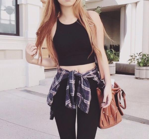shirt selfiie crop tops plaid skirt bag summer swag blouse bag jeans
