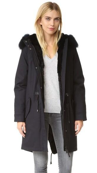 parka navy coat