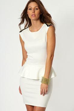 Sophie studded sleeveless peplum dress at boohoo.com