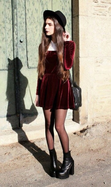 dress dark grunge 90s style velvet dress red velvet dress velvet red red velvet grunge dress white white collar collar tumblr tumblr outfit