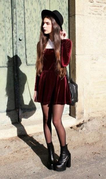 Dress dark grunge 90s style velvet dress red velvet dress velvet red red velvet grunge ...
