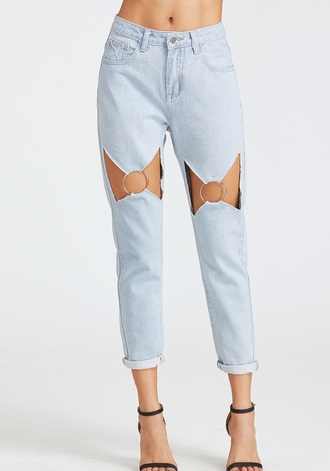 jeans girly blue blue jeans denim cut-out