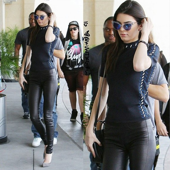 shoes pants leather shirt kendall jenner keeping up with the kardashians jenners the jenners suede stillettos turtle neck top short sleeve shirt monochrome sunglasses retro sunglasses round sunglasses cateye sunglasses