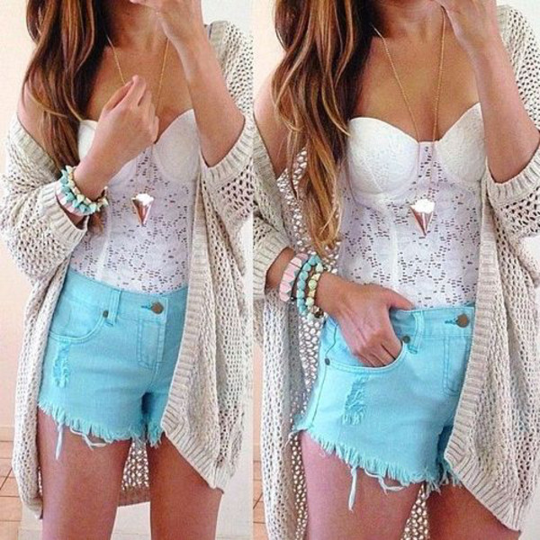 shorts t-shirt jewels sweater cardigan top