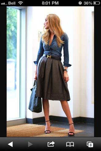 skirt pleated skirt denim shirt hermes belt leather skirt midi skirt blonde hair desperate for this career office outfits office wear