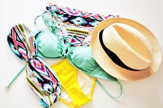 swimwear aztec swimwear aztec summer sun mint hat bikini aztec bikini