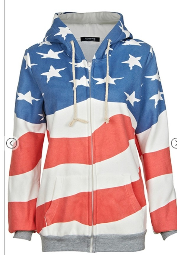 annakaci sm fit red white and blue american flag zip up