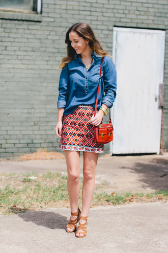 side smile style blogger skirt shoes jewels embroidered skirt mini skirt printed skirt shirt embroidered blue shirt denim shirt bag brown bag shoulder bag sandals brown sandals sandal heels high heel sandals