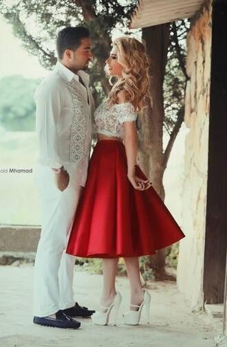 dress homecoming dress lace dress red short dress two piece dress set